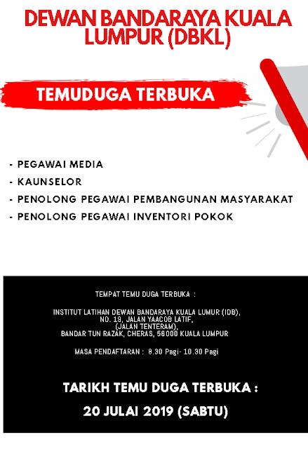 Temuduga Terbuka di Dewan Bandaraya Kuala Lumpur (DBKL) 2019