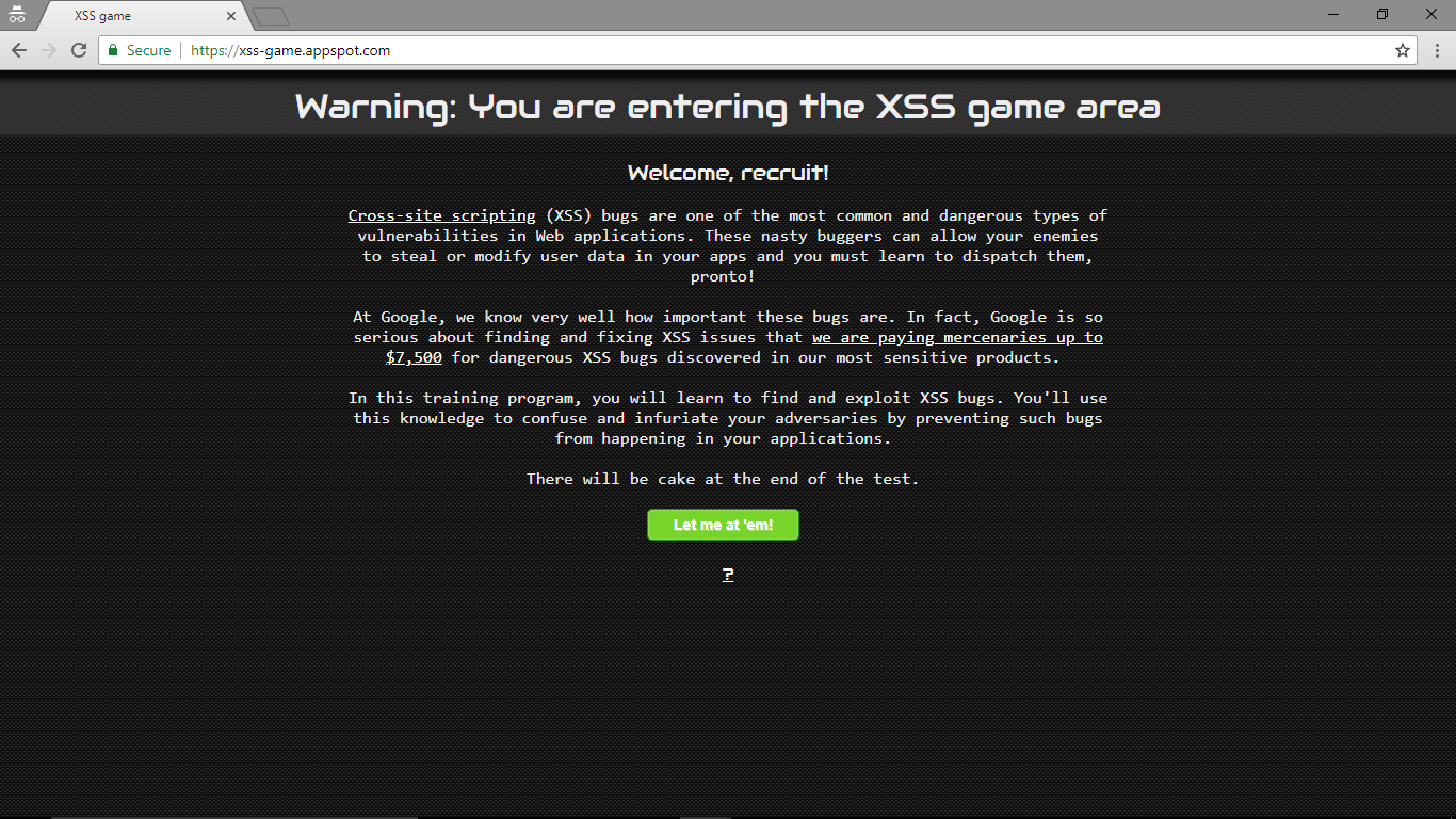 Hands On training | Google XSS Game