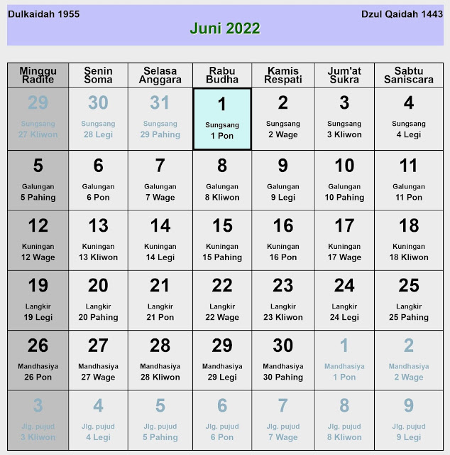 Kalender Jawa Juni 2022 Lengkap Hari Baik & Buruk