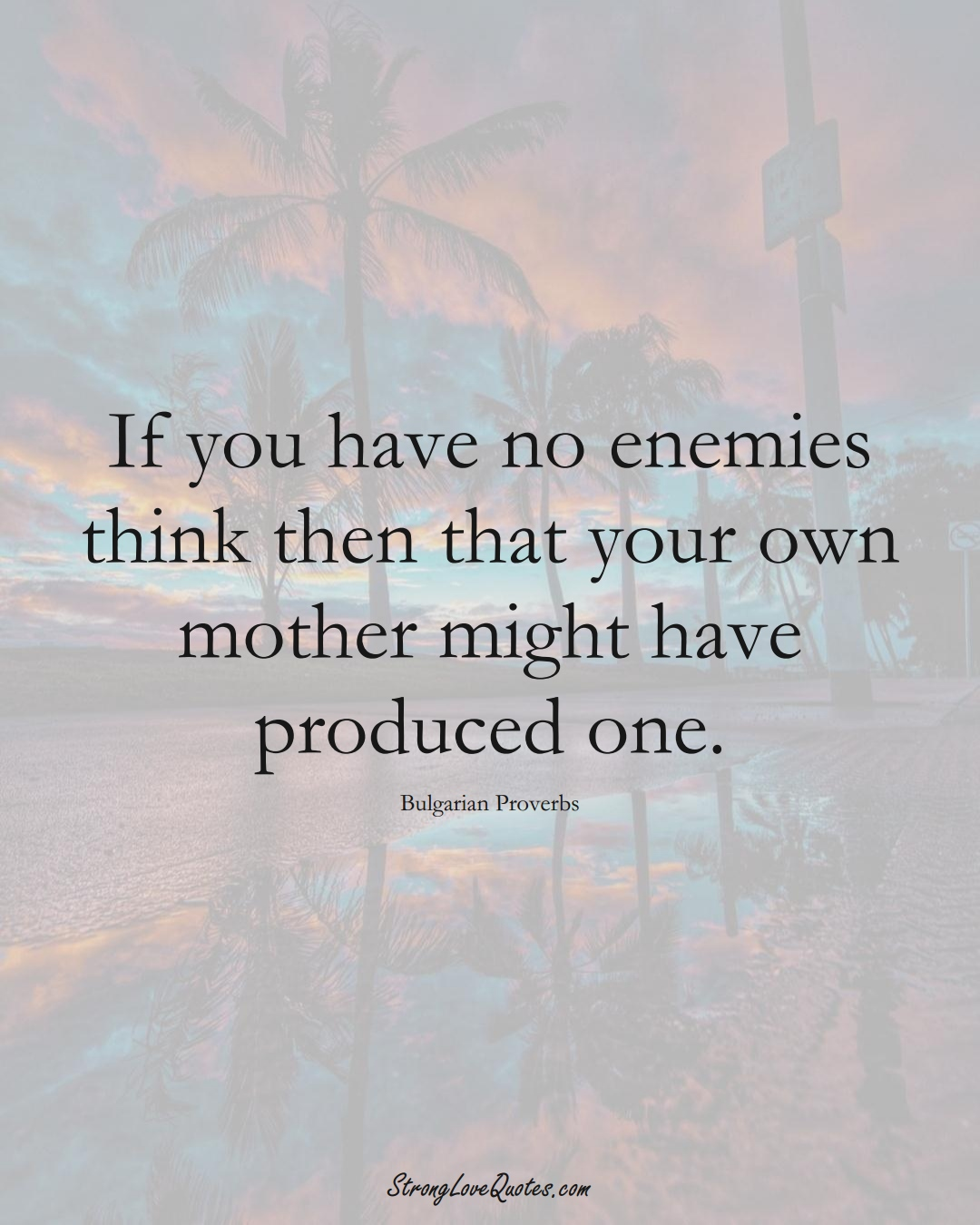 If you have no enemies think then that your own mother might have produced one. (Bulgarian Sayings);  #EuropeanSayings