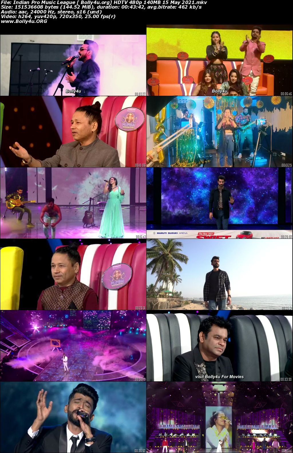 Indian Pro Music League HDTV 480p 140MB 15 May 2021 Download