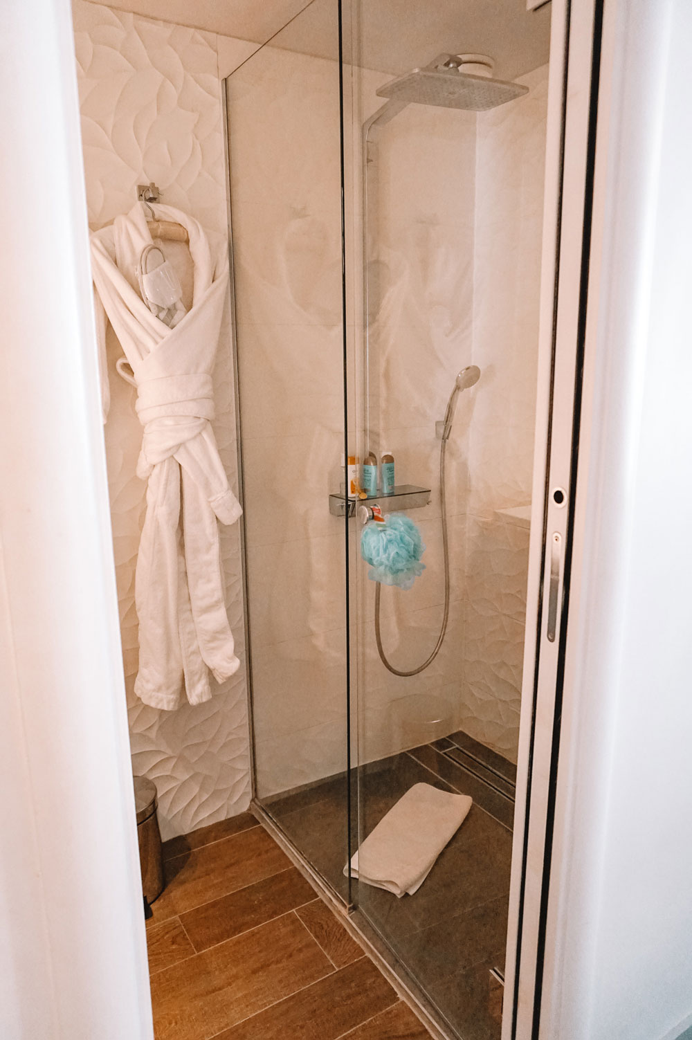 Hotel Chavanel's rainfall shower head