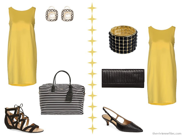 Two ways to wear a yellow dress with accessories