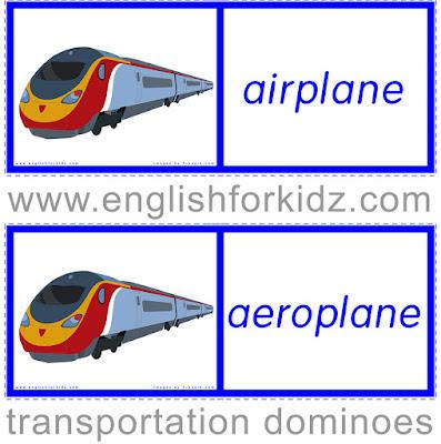 Transportation dominoes - ESL games and worksheets