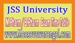 JSS University M.Pharm / B.Pharm (SS) Ist Sem Practical Nov 2016 Exam Time Table