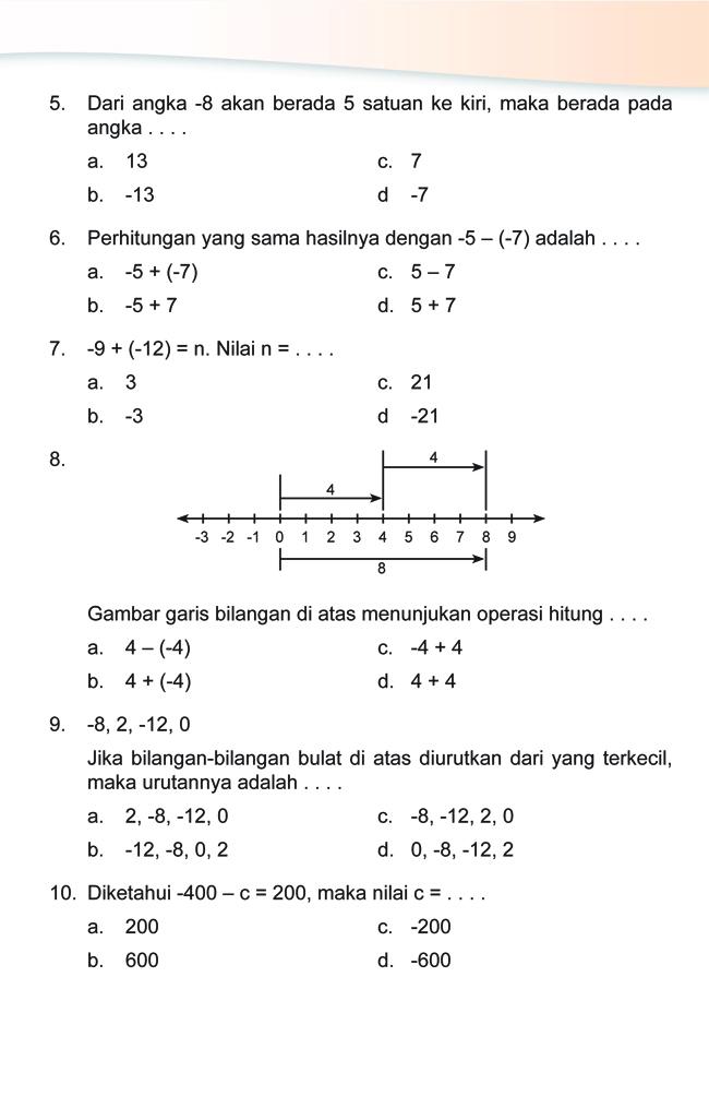 Kumpulan Soal Matematika Soal Ulangan Harian Matematika Kelas 4 Sd Quot Bilangan Bulat Quot