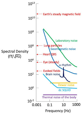 A reproduction of Fig. 1 from Hämäläinen et al. (1993), showing peak amplitudes and spectral densities of fields due to typical biomagnetic and noise sources.