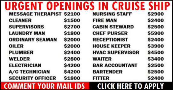 Urgent Jobs Openings in Cruise Ship – Apply Now ! | All Gulf