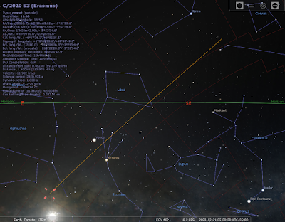 comet C/2020/S3 path for next 4 weeks from Stellarium