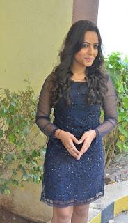 Actress Aanchal Stills in Blue Short Dress at Sei Movie Launch 0016