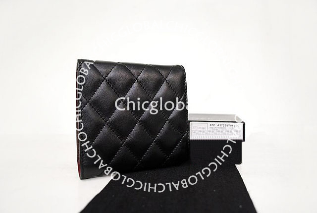 8d7ed64d74290b Chanel Classic Quilted Flap Short Wallet Black 37238. This classic Chanel  wallet is adorned with lovely accessories appeared more gorgeous and  fashion.