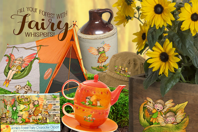 Find all the new fairy garden themed character art by Annie Lang at Creative market