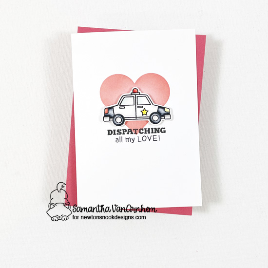 Police be mine Valentine card by Samantha VanArnhem | Love Emergency Stamp Set and Slimline Masking Hearts Stencil Set by Newton's Nook Design