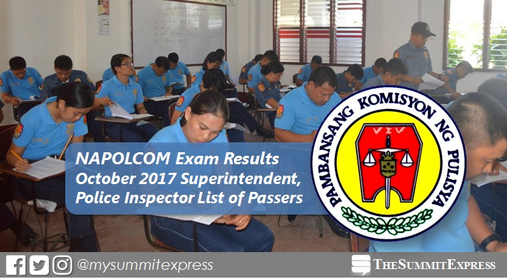 RESULTS: October 2017 Superintendent, Inspector NAPOLCOM exam
