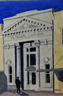 Farmers State Bank Watercolor - Georgetown - John Keese