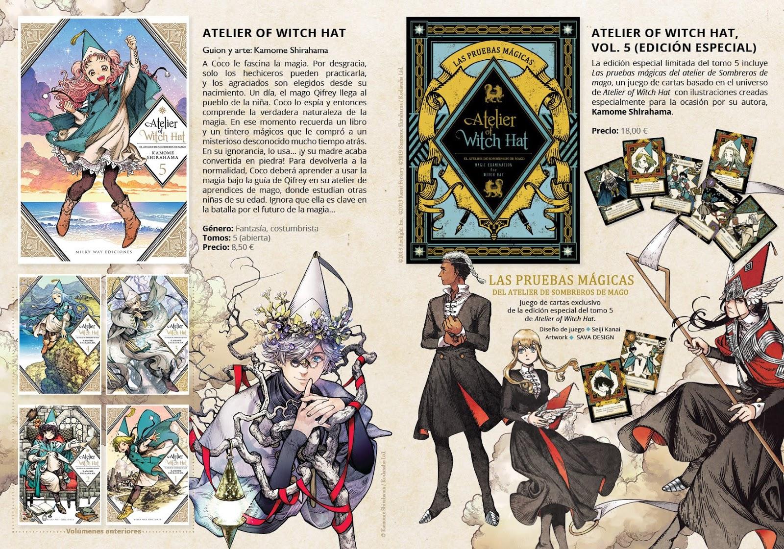 """Milky Way anuncia edición doble del tomo 5 de """"Atelier of Witch Hat"""", juego de cartas incluido."""