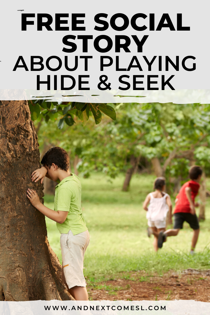 Free printable social story for kids with autism about how to play hide and seek