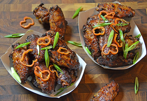 Spicy Jerk Chicken Wings recipe on a Big Green Egg