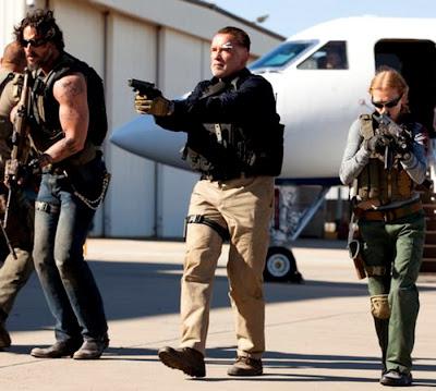Joe Manganiello, Arnold Schwarzenegger şi Mireille Enos în filmul Sabotage