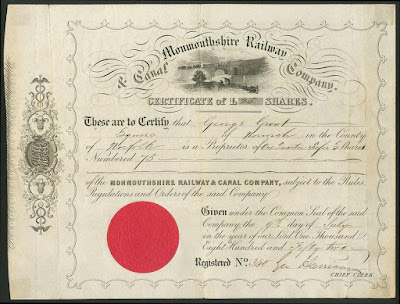 share certificate of the Monmouthshire Railway and Canal company with canal vignette