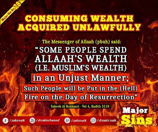 MAJOR SIN. 28. CONSUMING WEALTH ACQUIRED UNLAWFULLY