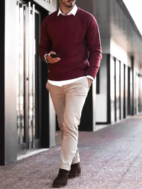 Sweater, shirts, and trousers