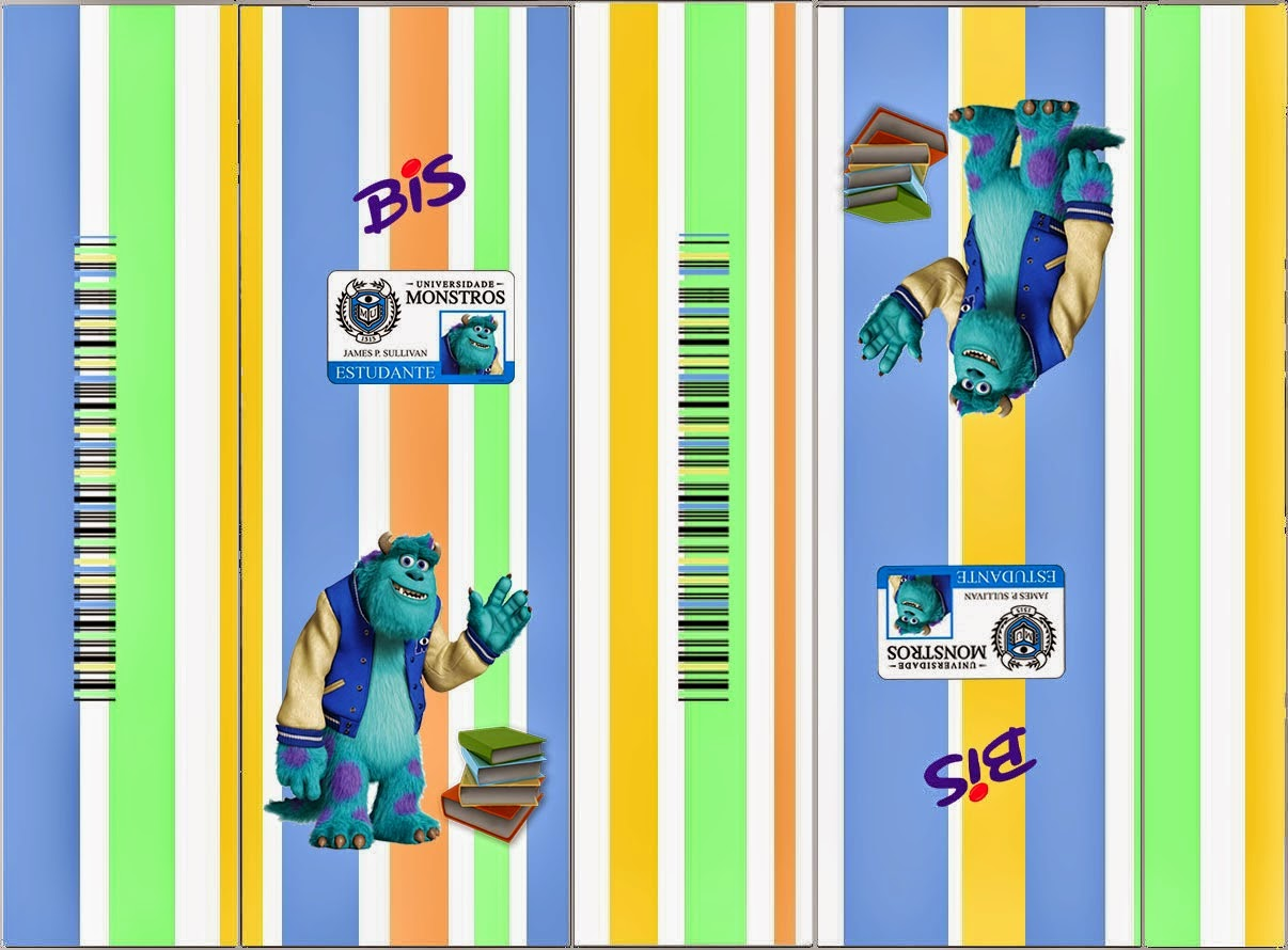 Universidad de Monstruos: Divertidas Etiquetas para Candy Bar para Imprimir Gratis.