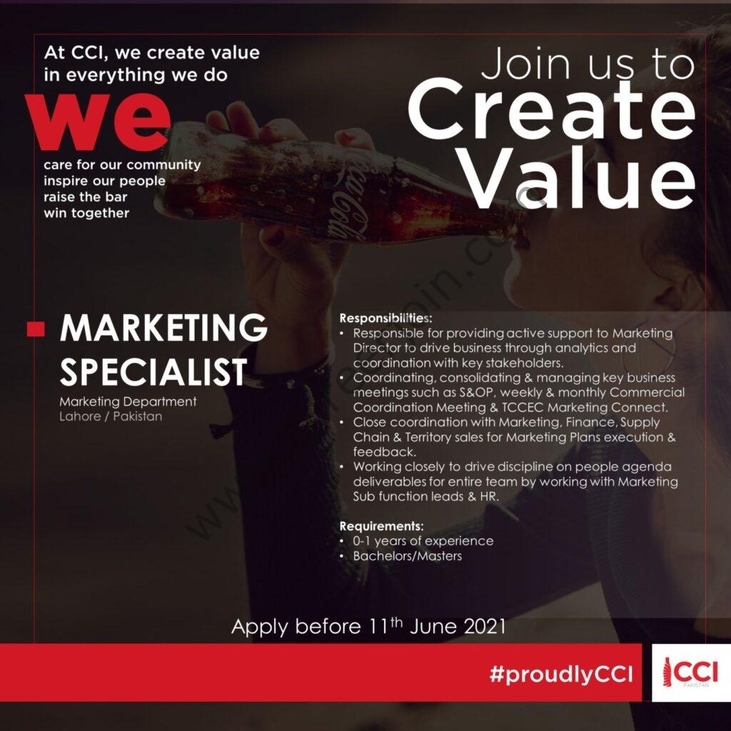 Coca Cola Icecek CCI Jobs 2021 Latest For Marketing Specialist - Coca Cola Pakistan Jobs 2021 Apply Online