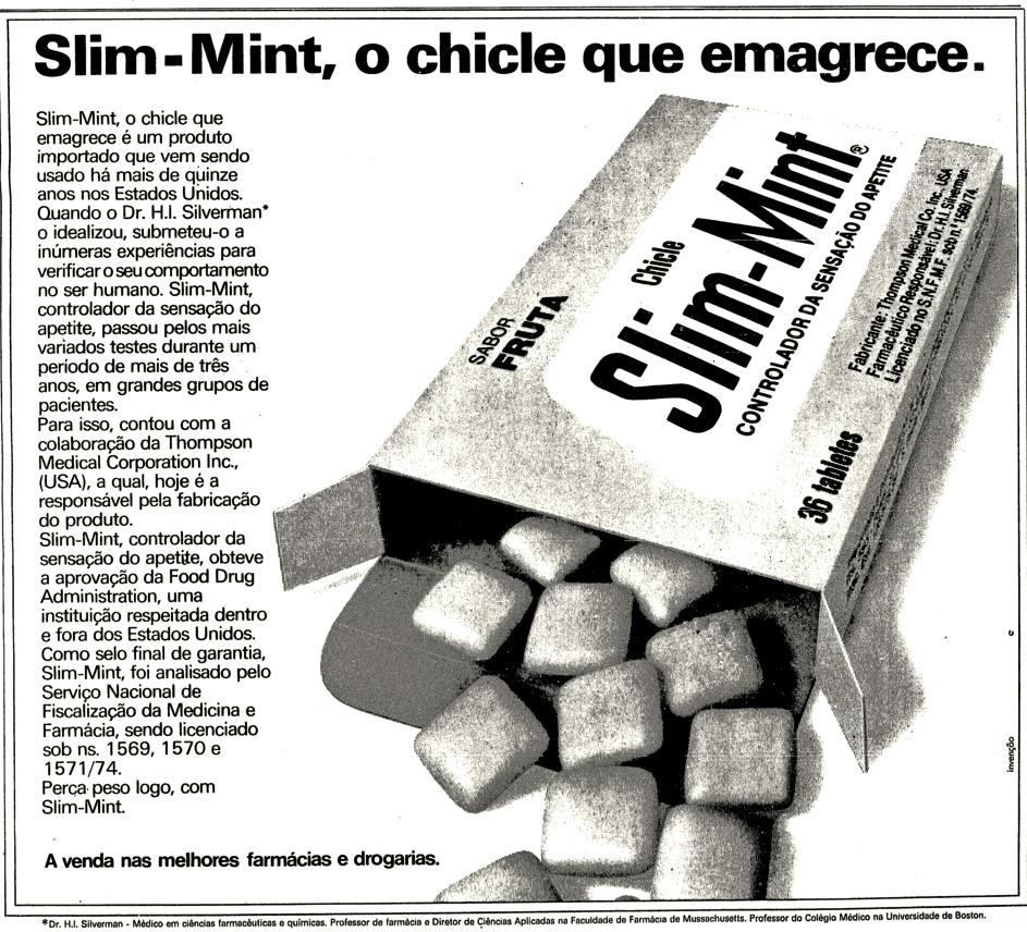 Propaganda antiga do chiclete que tinha a promessa de controlar o apetite