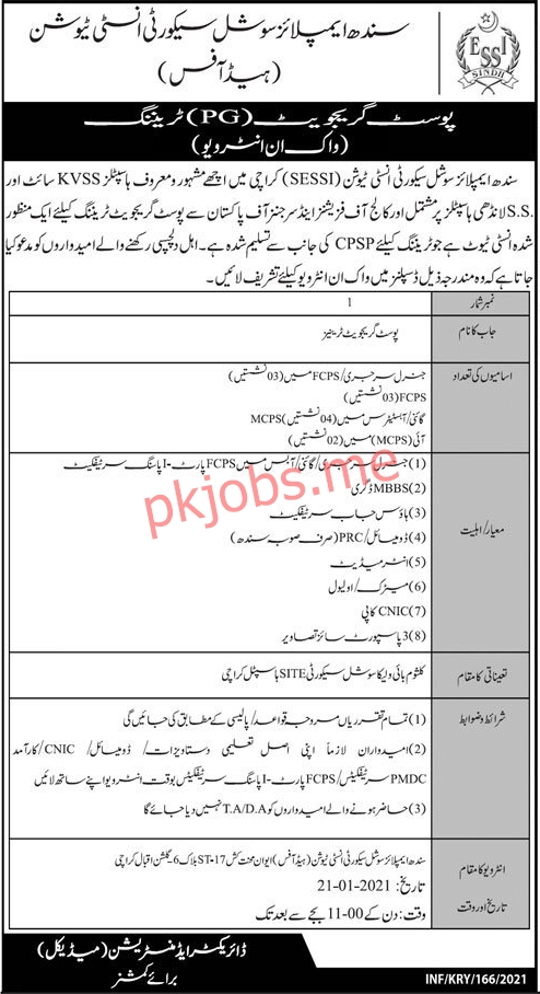 Latest Sindh Employees Social Security Institution Medical Posts 2021