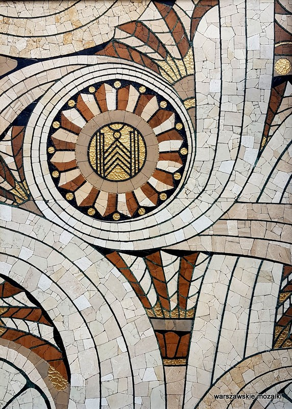 Warszawa Warsaw Wola Siedmiogrodzka 7 mosaic ceramika złoto onyks