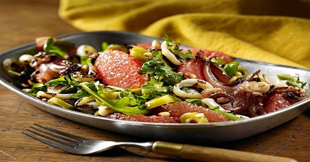 Grilled Calamari With Grapefruit, Olives And Pine Nuts Recipe