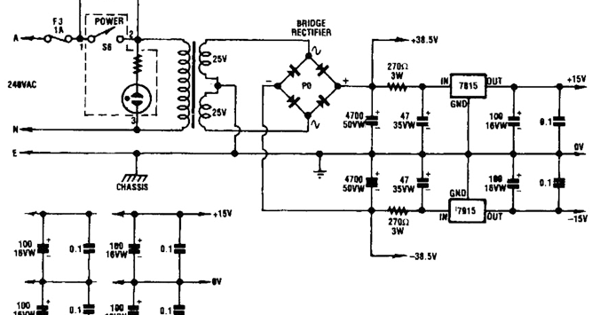 Wiring Schematic diagram: Twin Audio Amplifier Power