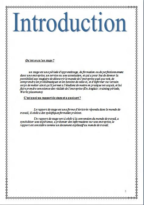 Introduction De Rapport De Stage Exemple - Exemple de Groupes