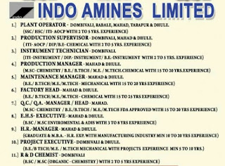 Indo Amines Limited Jobs Vacancy For  10th, 12th ITI Diploma, B.E Candidates In Mumbai