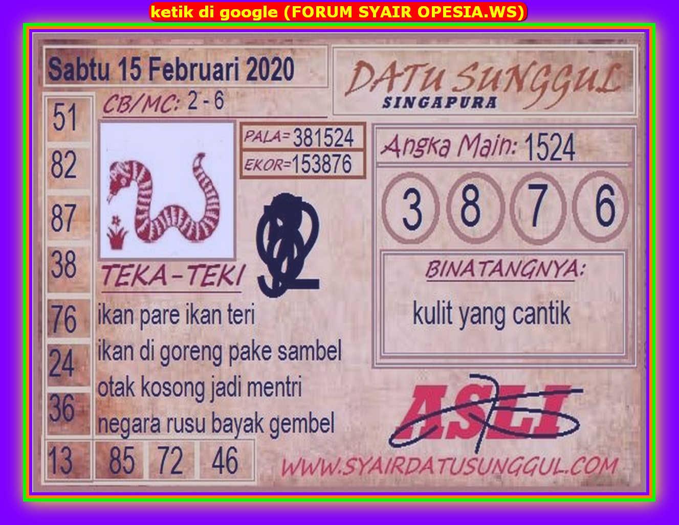 Kode syair Singapore Sabtu 15 Februari 2020 76