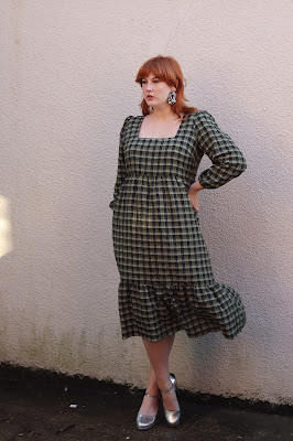 Plus Sized Gingham Midi Dress