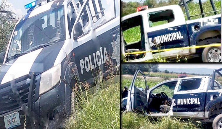 Sicarios emboscan y rafaguean a Policías Municipales de Celaya, motosicarios los rematan durante persecución en San Miguel Octopan