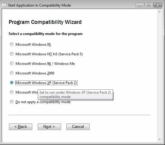 windows-التوافق-الوضع-الاختبار