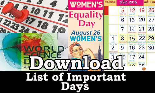 Download List of Important National and International Days