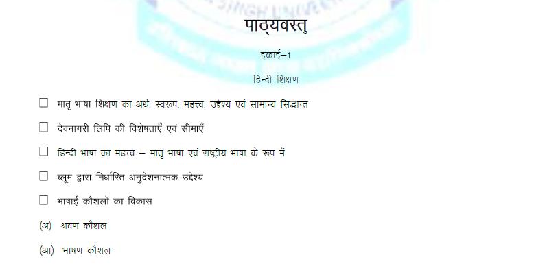 teaching of hindi syllabus