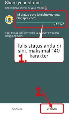 Cara membuat status hangout