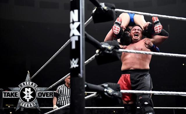 Joe Seanoa and Fergal Devitt in NXT TakeOver: Dallas (2016)