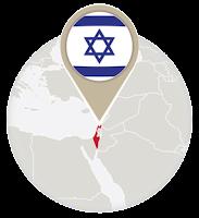 Israeli flag and map