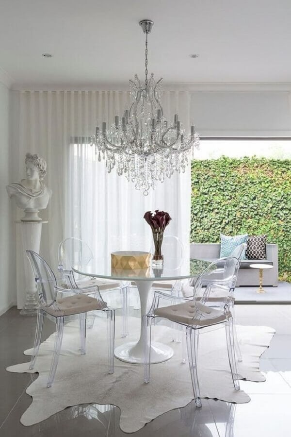 Dining room decoration with transparent chair