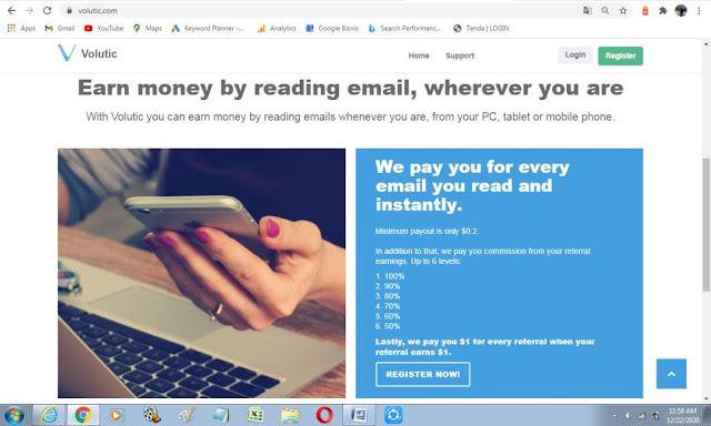 Cara dapat uang dari membaca email dari situs volutic.com