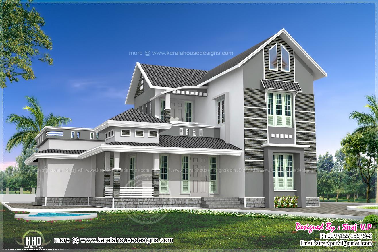 Beautiful 4 bedroom villa elevation in 2000 sqft  Kerala
