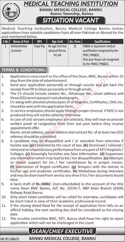 New Jobs in Bannu Medical College Jobs 2021