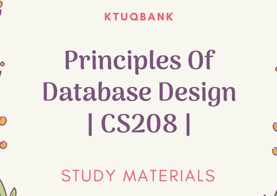 Principles of Database Design | CS208 | Study Materials