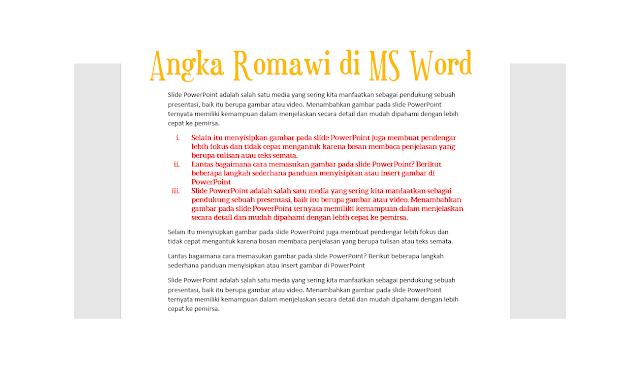 Cara Membuat Angka Romawi di Microsoft Word